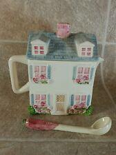Our Town Collection Brazil Tea Pot & ladle Pink Blue Townhouse