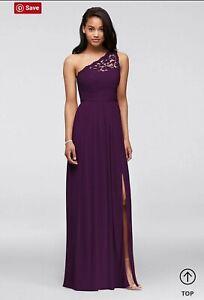 Davids bridal Plum Purple One Shoulder Long Lace Bridesmaids Dress Size 6 NEW