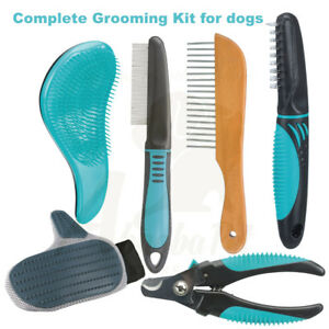 Complete Dog Grooming kit Soft Brush Fur Detangler Flea & Dust Comb Nail Clipper