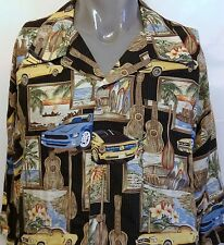 Island Collection Ford Mustangs Hawaiian Shirt Size 3XL Guitars Surfing Sunset
