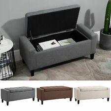 Deluxe Linen Storage Ottoman Bench Footrest Stool Large Storage Space