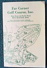 BOXFORD MA Vintage Golf Scorecard Diagram of Course Far Corner Golf Course 1960s