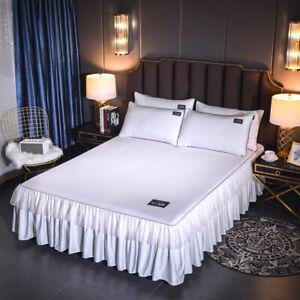 Satin Silk Bed Skirt/Pillowcase Dust Ruffle Bed Sheet Bedspread All Size Bedding