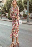 NWT Zara 2019 Print Sequin Midi Dress Statement Rainbow Ref 2488/121