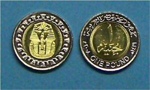 """EGYPT   2008  1 POUND  """"KING TUTANKHAMAN""""  KM940a  UNCIRCULATED BIMETAL COIN"""