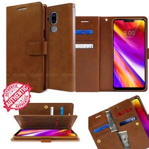 For LG G7 V35 V40 V50 ThinQ Wallet leather Book Dual Flip Card Rugged Case Cover