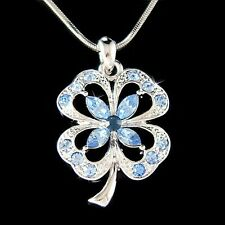 Blue 4 Leaf Clover made with Swarovski Crystal St Patricks Day Shamrock Necklace
