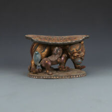 China Tang Dynasty Tri-coloured Glazed Pottery Animal Lion Leaf Hydrangea Pillow