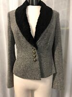 Bloomingdale's Women's Blazer Black White Fully Lined Detachable Collar Size 12