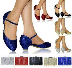New Womens Ladies Party Bridal Flats Low Heel Court Shoes Pumps Sandals Size 665