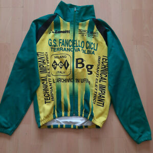 GS FANCELLO RETRO VINTAGE MADE ITALY BIKE WINTER CYCLING JACKET - Green Yell - M
