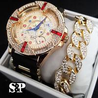 MEN'S HIP HOP ICED OUT LUXURY LAB DIAMONDS WATCH & CUBAN BRACELET COMBO SET