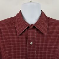 Brooks Brothers 1818 Mens Dark Red Check L/S Dress Button Sport Shirt Sz Large L
