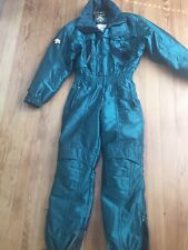 Green Metallic DESCENTE Mens SMALL One piece SKI SUIT Snowsuit Vtg 80s 90s