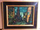 """Early California artist Guido (Wedo) Georgetti cubist oil """"Cityscape"""""""
