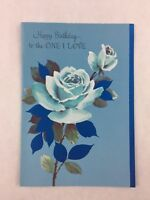 Vintage Sweetheart Birthday Card Blue Roses Rust Craft New Made in USA
