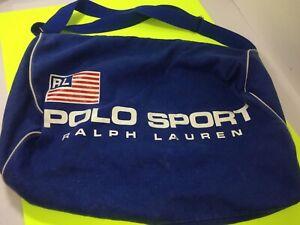Vintage 1980s Ralph Lauren Polo Sport Blue Shoulder Duffle Bag Beach Bag Gym Bag