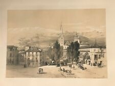 Granada Carrera Darro.George Vivian, litografia original.Londres 1838