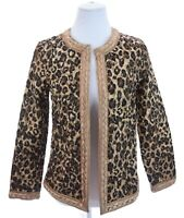 Chico's Quilted Reversible Satin Leopard Print Light Jacket Womens Sz 0 Small 4