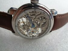RARE TITAN SKELETON BIG FACE S/SECOND SS MECHANICAL HAND WINDING MENS WRISTWATCH