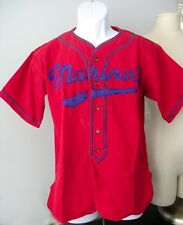 Vtg Red Baseball Jersey AMCO Apparel #4 Marino's Cotton Blue Felt Letters 1940s