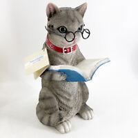 """Gray Tabby Resin Cat Kitten Feline Figurine 11.5"""" Glasses Reading Book NWT"""