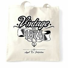 Birthday Tote Bag Vintage Est 1974 Aged To Perfection Distressed Design