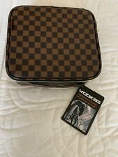 BROWN CHECKERED MAKEUP TRAVEL CASE - HARD CASE - NEW - #16
