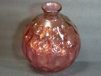 "Vintage Vidrios San Miguel Cranberry Thumbprint Bulb Glass Vase, 7"" Spain, Mint!"