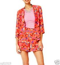 Fashion Star Women Size 4 2-pc Printed Open Front Jacket & Shorts Set NWT $148