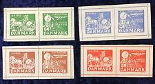 Denmark Slagelse Philatelic Exhibition 4.9.1938 4 X Pairs of Cinderellas