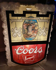 Vtg. Large Coors Banquet Beer Lighted Sign - Very Rare And Works