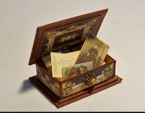 Keepsake Box Antique Photographs Letters Ephemera  1:12