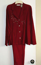 JOHN PAUL RICHARDS *2 PC. PANT SUIT* RED - LINNEN 55 & RAYON 45% - LONG SLEEVES