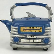 Blue Sky Radio Teapot 2015 Blue 14714 Clayworks Transistor Old Time
