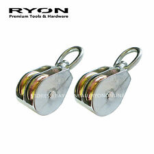 "2x 1-1/2"" 37mm Single Wheel Pulley Block Swivel Snatch Rope Hanging Wire HD"