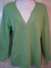 SAG HARBOR  Womens XL 14 16 Lime Green Pullover Sweater Long Sleeves 100% Cotton
