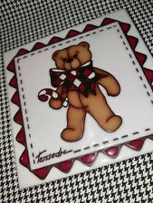 Cleo Teissedre Design Jack Christmas Teddy Bear Candy Cane Trivet Wall Tile Htf