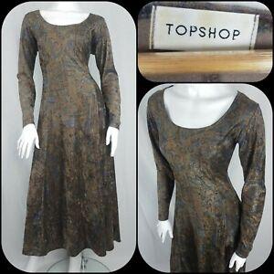 Vintage Topshop 90s Dress Velvet Size 12 Brown/Blue Paisley Grunge