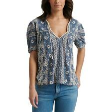 Lucky Brand Womens Navy Floral Tie Front Tee Peasant Top Shirt XS BHFO 7807