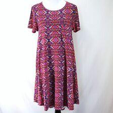 Lularoe Carly Dress Womens M Pink Purple Geometric Print Short Sleeve Knit