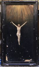 Tableau Ancien Huile à restaurer Religieux Christ en Croix Jesus XVIIIe