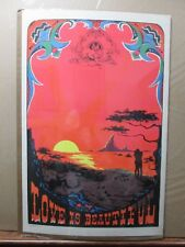Vintage Black Light Poster Love is Beautiful peace In#G2506