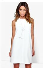 Boohoo Dress Size 10 womens Abbey White shift NWT Cold Shoulder