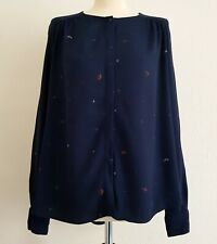 SESSUN Navy Printed Button Front, Long Sleeve Crepe Blouse Top - Medium