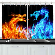 Yellow blue Fire dragon Animal Window Drapes Kitchen Curtains 2 Panel 55*39 Inch