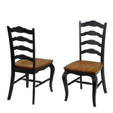 (2 PACK) Home Styles Dining Chair French Countryside Contoured Seat Rubbed Black