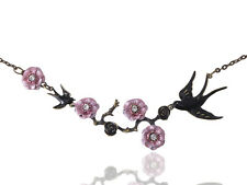 Handpaint Enamel Japanese Cherry Blossom Branch Jet Black Sparrow Birds Necklace