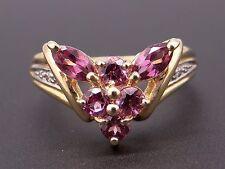 10k Yellow Gold .74ct Round Marquise Rhodolite Garnet Diamond Band Ring Size 7.5
