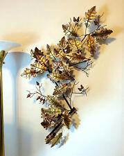 Vtg 1976 Signed Curtis Jere Brass Copper Metal Acorn Leaf Leaves Wall Sculpture